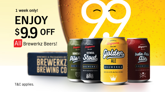 9.9 SALE - Enjoy $9.90 off Brewerkz beers!