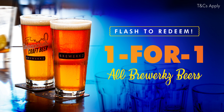 1-For-1 Beer promotion @ Brewerkz!